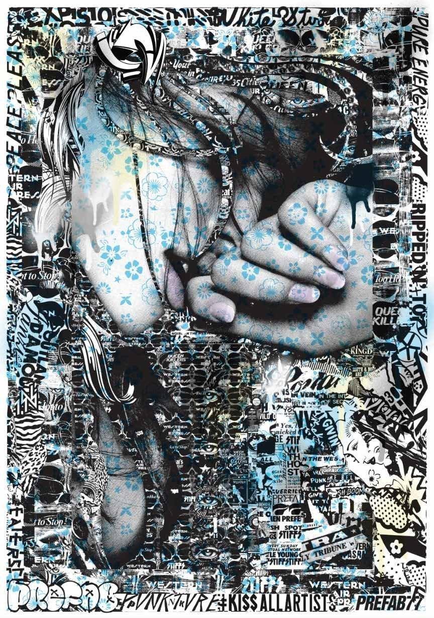 Ripped-torn-screenprint-newsprint-gold-prefab77-gallery-sale-street-art-artist-long-night