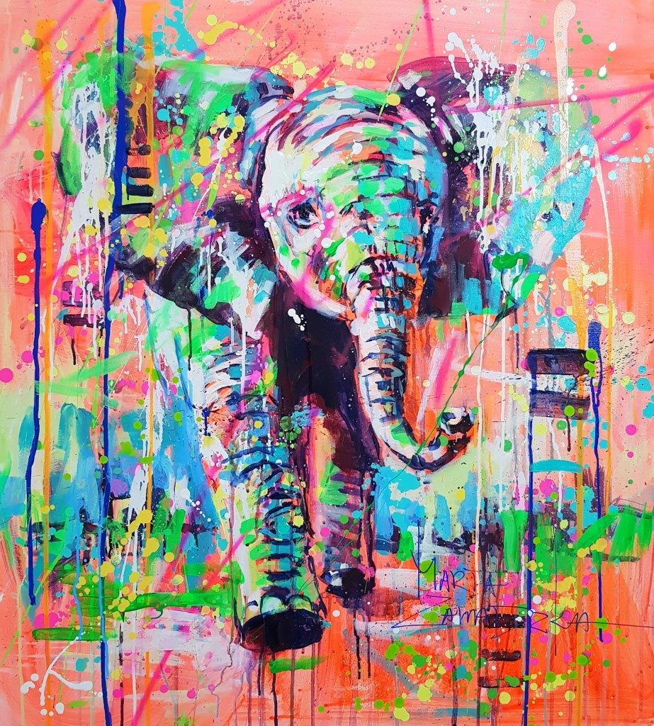 Marta-Zawadzka-canvas-elephant-sell-gallery-run-animal-poland-artist-buy-shop-colorful-signed-big-street-art-artist